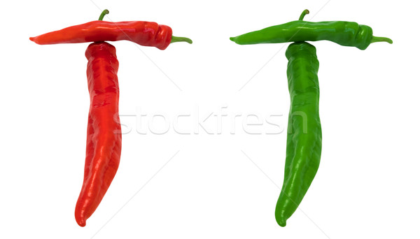 Stock photo: Letter T composed of green and red chili peppers