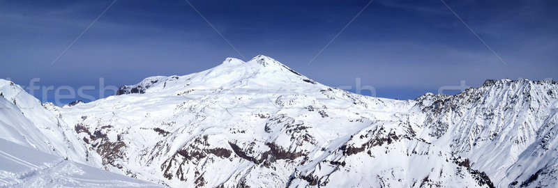 Panoramic view on mount Elbrus and off-piste slope Stock photo © BSANI