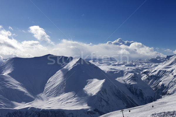 Stock photo: Winter mountains at evening