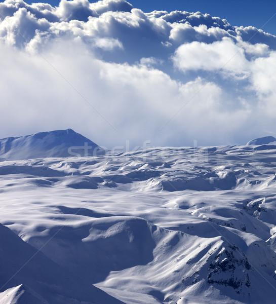 Napfény fennsík égbolt felhők Kaukázus hegyek Stock fotó © BSANI