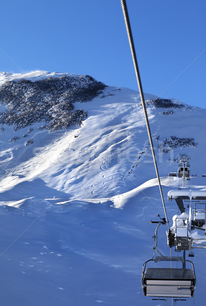 Off-piste slope and chair-lift after snowfall Stock photo © BSANI