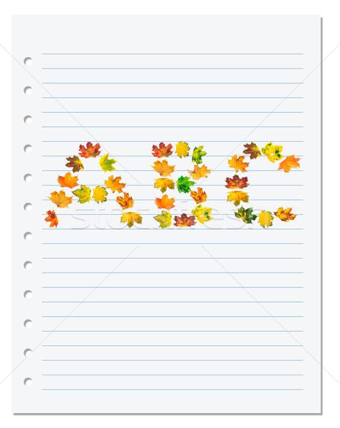 Cuaderno papel cartas otono arce volver a la escuela Foto stock © BSANI