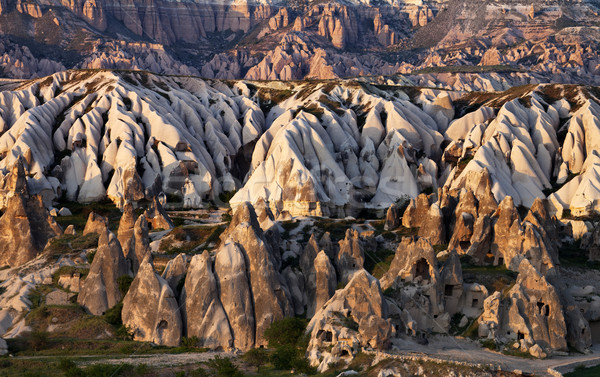 View of Cappadocia valley at spring sunset Stock photo © BSANI