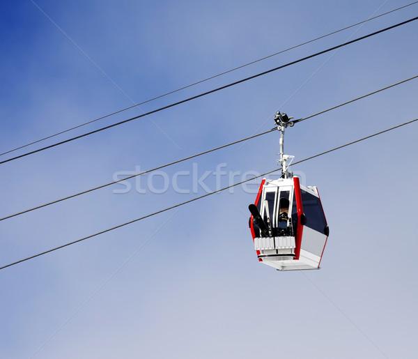 Gondola lift with ski and snowboards Stock photo © BSANI