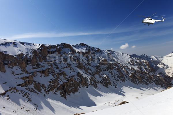 вертолета Солнечный гор Nice день пейзаж Сток-фото © BSANI