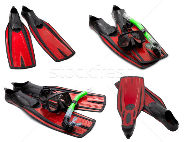 Ingesteld Rood masker snorkel duiken waterdruppels Stockfoto © BSANI