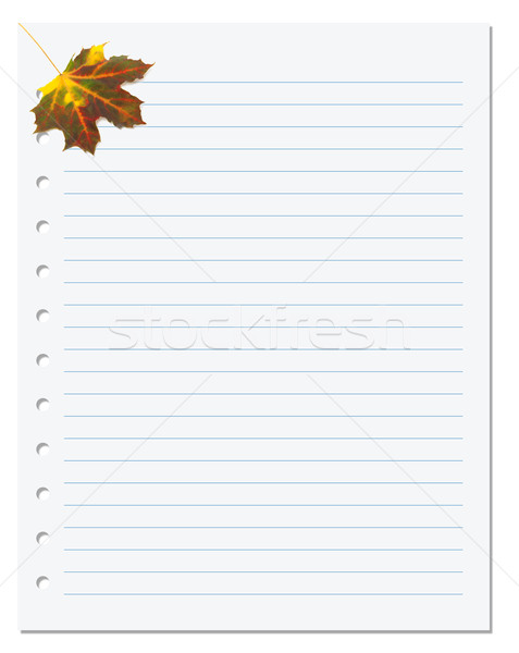 Notebook paper with autumn maple leaf in corner Stock photo © BSANI