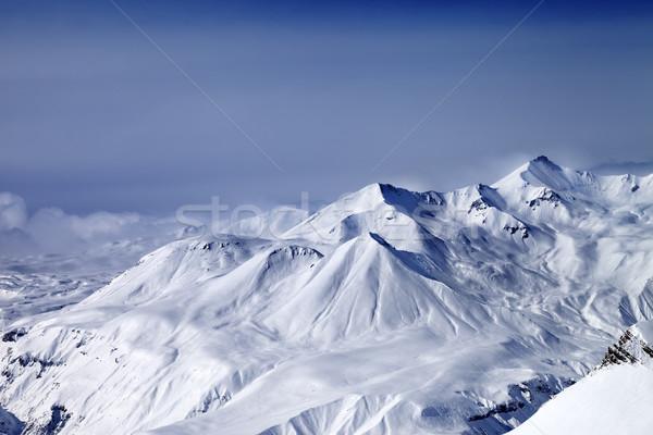 Dağlar buğu kafkaslar Georgia Kayak başvurmak Stok fotoğraf © BSANI