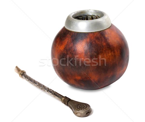 Calabash gourd and bombilla on white background Stock photo © BSANI