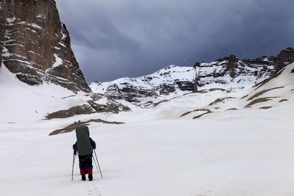 Twee wandelaars bergen slechte weer Turkije centraal Stockfoto © BSANI
