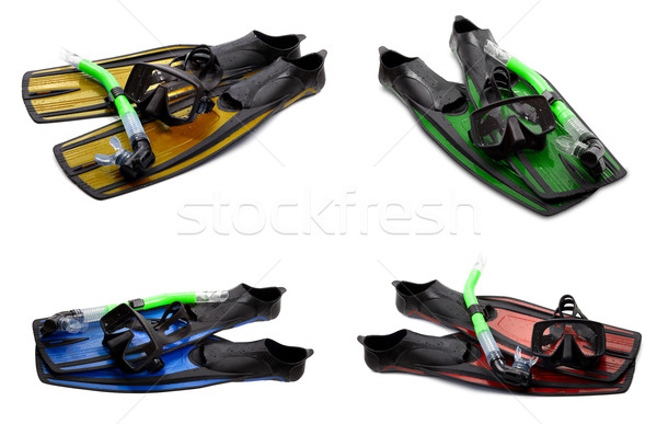 Set of multicolor swim fins, mask and snorkel for diving Stock photo © BSANI