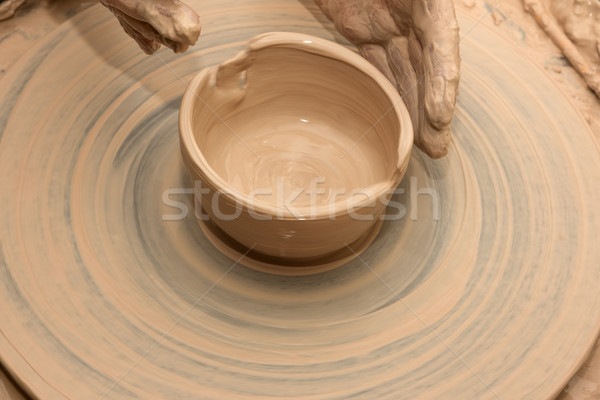 Process of making clay bowl  Stock photo © BSANI