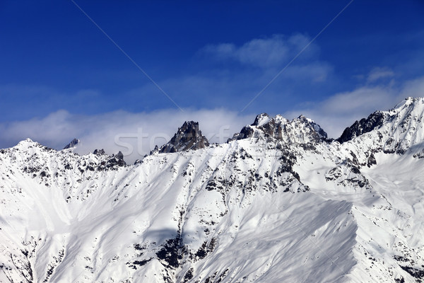 View on snowy mountains at sun day Stock photo © BSANI