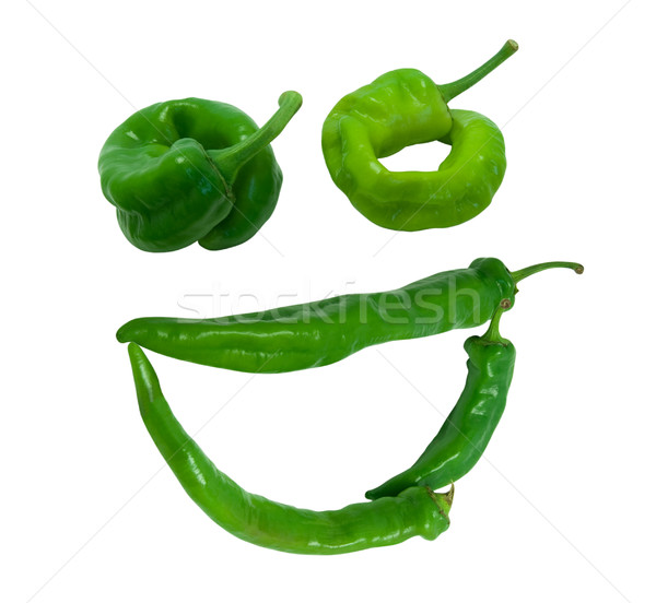 Smile 'grin' composed of green peppers Stock photo © BSANI