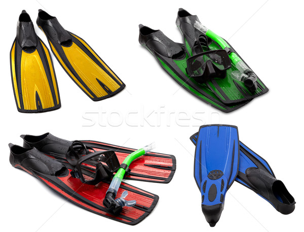 Set of multicolored flippers, mask, snorkel for diving with wate Stock photo © BSANI