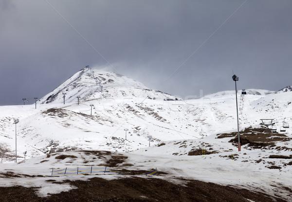 Ski weinig sneeuw jaar slechte weer dag Stockfoto © BSANI