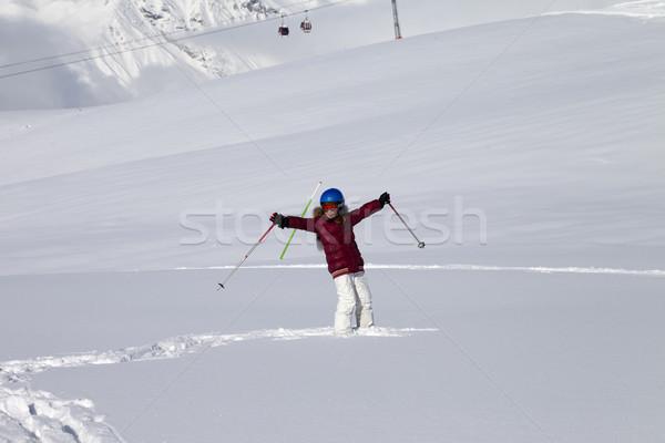 счастливая девушка склон новых снега Nice солнце Сток-фото © BSANI