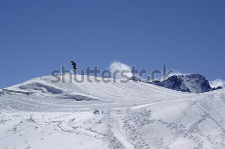 Trace of the snowcat on ski slope Stock photo © BSANI