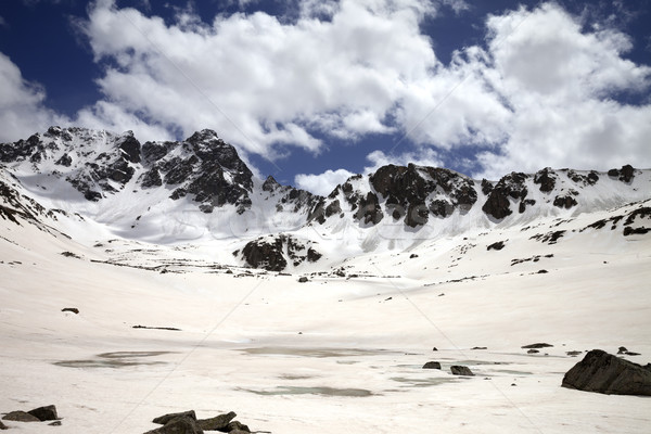 Frozen mountain lake covered with snow at sun day Stock photo © BSANI