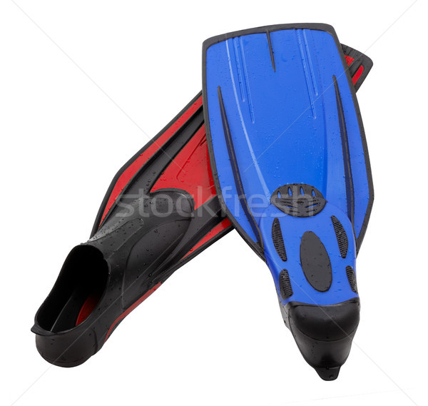 Pair flippers for diving of different colors with water drops Stock photo © BSANI
