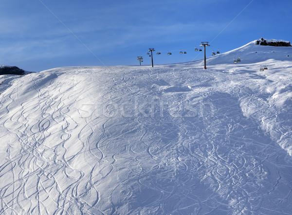 Sunlight off-piste slope at morning Stock photo © BSANI