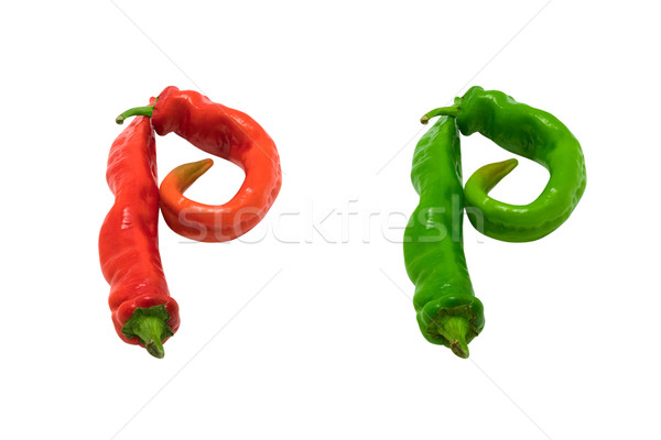 Stock photo: Letter P composed of green and red chili peppers