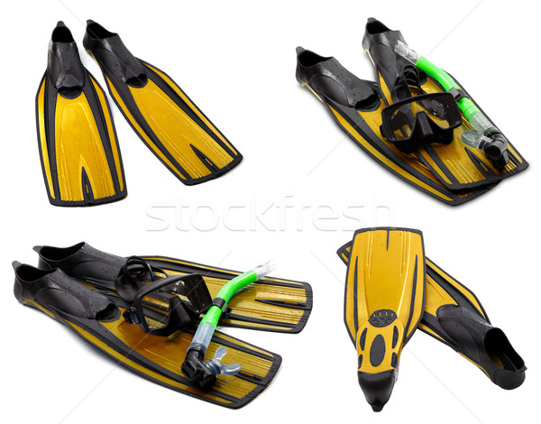 Set of yellow flippers, mask, snorkel for diving with water drop Stock photo © BSANI