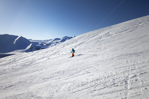Kayakçı güneş gün kafkaslar dağlar Stok fotoğraf © BSANI