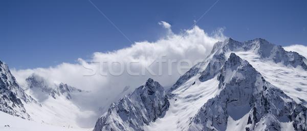 Panorama kafkaslar dağlar Kayak başvurmak görmek Stok fotoğraf © BSANI
