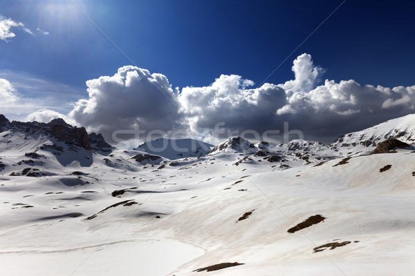 Plateau and lake covered snow at spring day Stock photo © BSANI