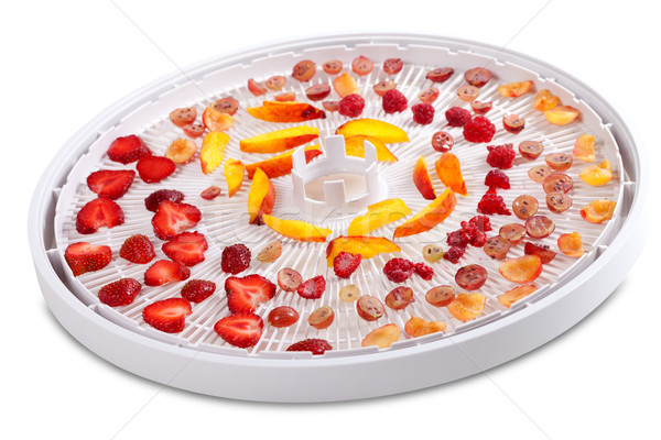 Slices of fruits and berries on dehydrator tray Stock photo © BSANI