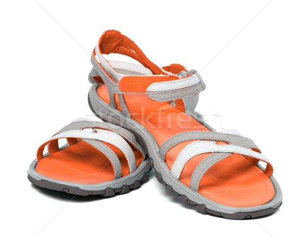 Paar zomer sandalen witte geïsoleerd strand Stockfoto © BSANI