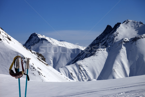 Ski mask on ski poles and off-piste slope Stock photo © BSANI