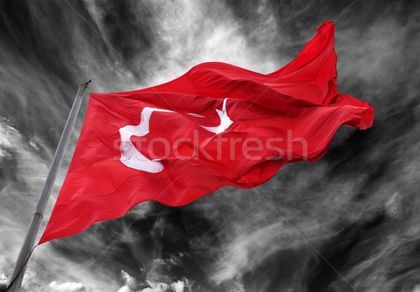 Bayrak Türkiye bayrak direği siyah beyaz fırtına Stok fotoğraf © BSANI