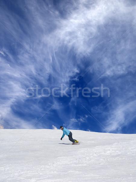 Snowbordos sípálya kék ég felhők természet tél Stock fotó © BSANI