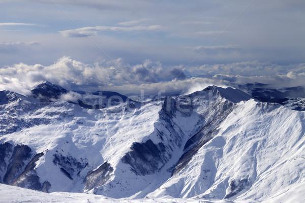 冬 山 雲 風の強い 日 コーカサス ストックフォト © BSANI