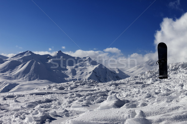 Snowboard in snow on off-piste slope Stock photo © BSANI