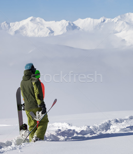 Snowboarders on off-piste slope after snowfall Stock photo © BSANI