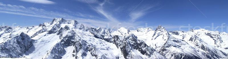 Panoráma Kaukázus hegyek kilátás sí üdülőhely Stock fotó © BSANI