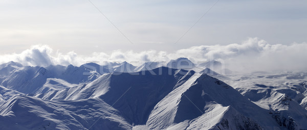 Panorama of evening mountains in haze Stock photo © BSANI
