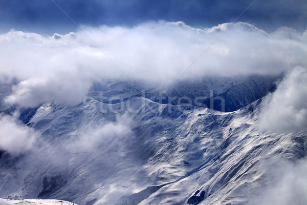Ver montanhas névoa cáucaso Geórgia esquiar Foto stock © BSANI