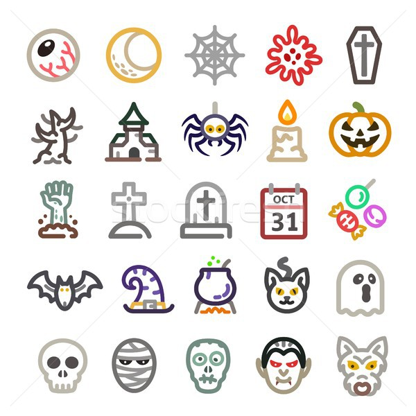 Halloween icona line albero mano cranio Foto d'archivio © bspsupanut