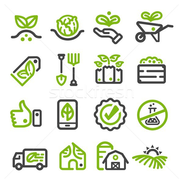 Stock photo: organic farm,organic vegetable thin line icon