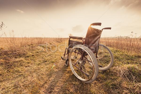 Vazio cadeira de rodas prado pôr do sol vintage retro Foto stock © bubutu