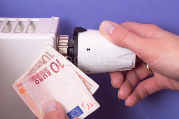 Radiator thermostat, banknote and hand - purple Stock photo © bubutu