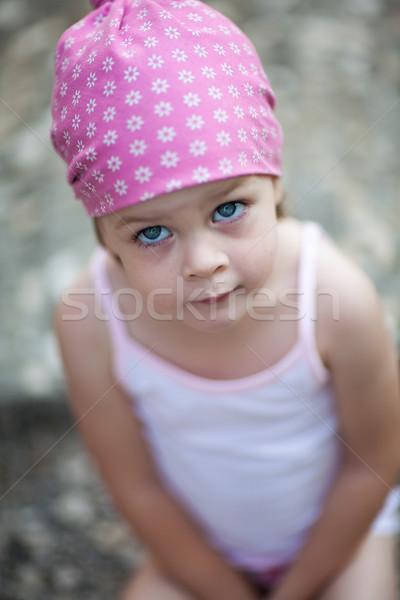 Cute девочку глядя кто-то что-то мало Сток-фото © bubutu