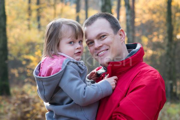 Vader dochter najaar bos glimlachend Stockfoto © bubutu