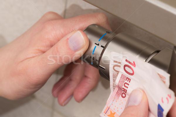 Radiatore termostato mano rosolare valvola Foto d'archivio © bubutu