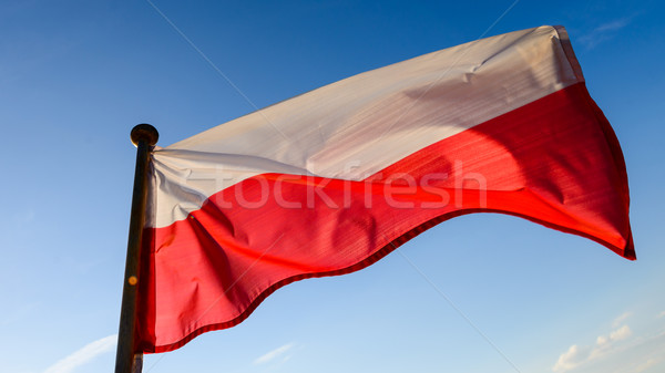 флаг Blue Sky воды синий красный волна Сток-фото © bubutu