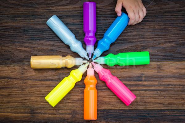 Flessen kleurrijk drogen houten kiezen Stockfoto © bubutu